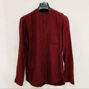 UNIQLO Burgundy Stand Collar Long Sleeve
